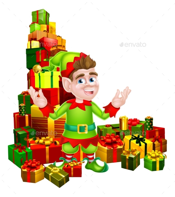 Cartoon Gifts Elf - Seasons/Holidays Conceptual