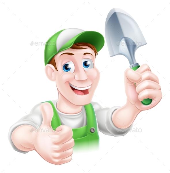 Happy Cartoon Gardener - People Characters