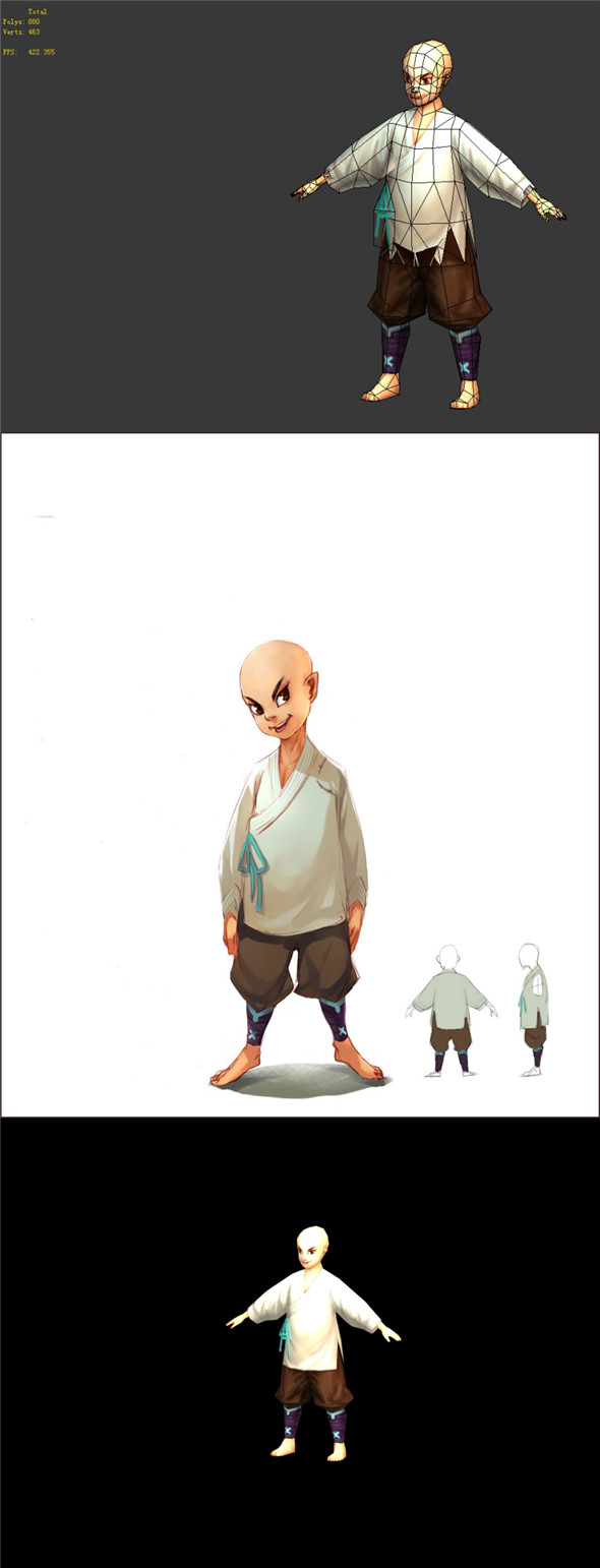 Game Model - Taoist comprehension Scene - Small Monk 01 - 3DOcean Item for Sale