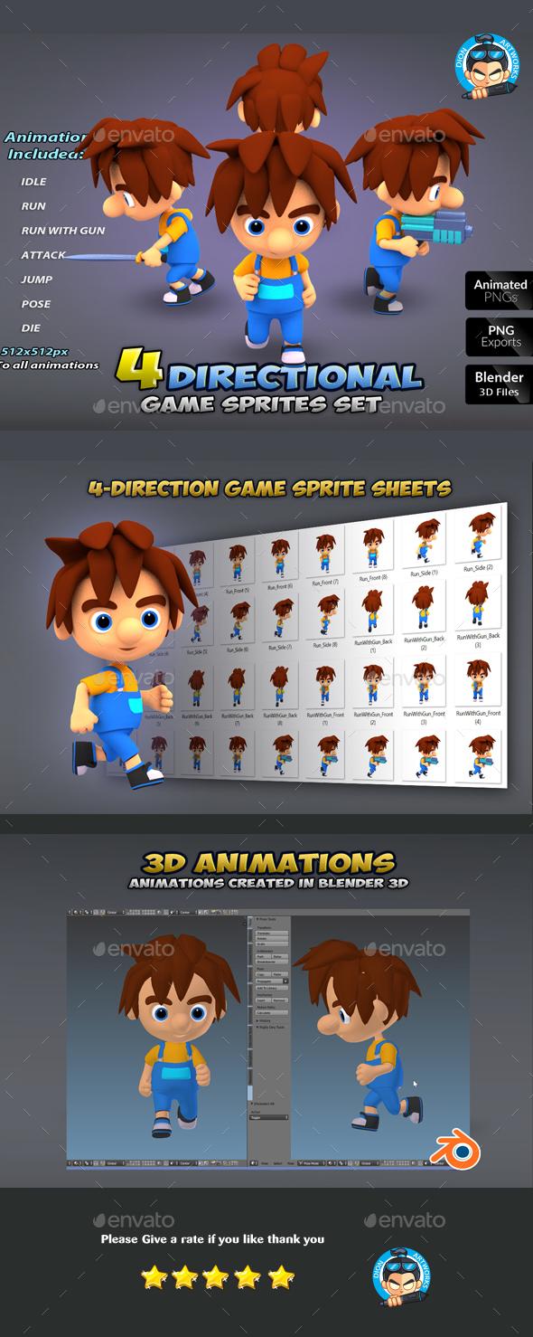 4-Direcional Game Sprites 10 - Sprites Game Assets