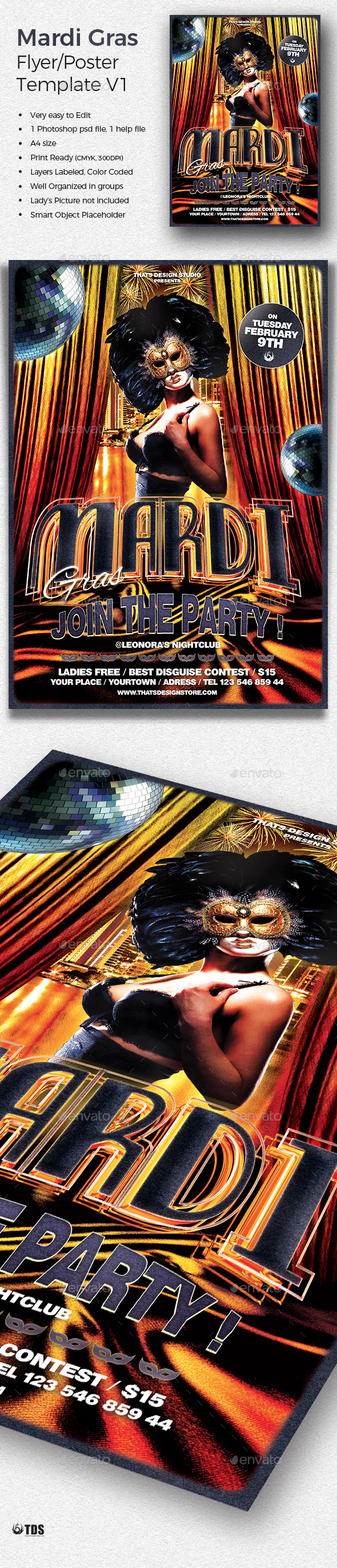 Mardi Gras Flyer Template V1 - Clubs & Parties Events