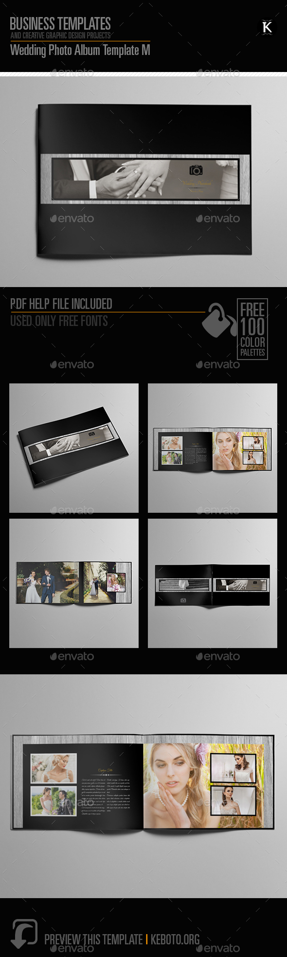 Wedding Photo Album Template M - Photo Albums Print Templates