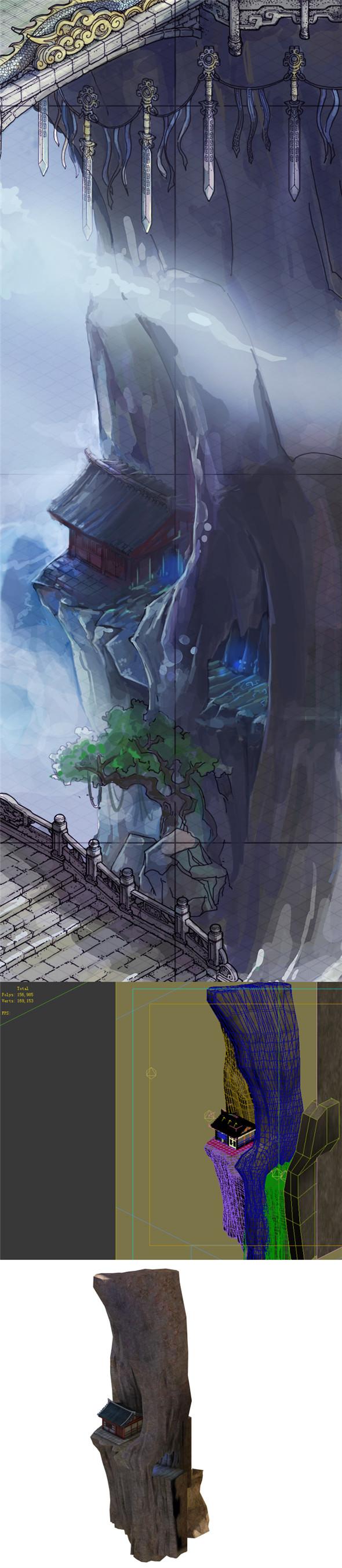 Game Model - Taoist comprehension scene - Taoist cliff house 01 - 3DOcean Item for Sale