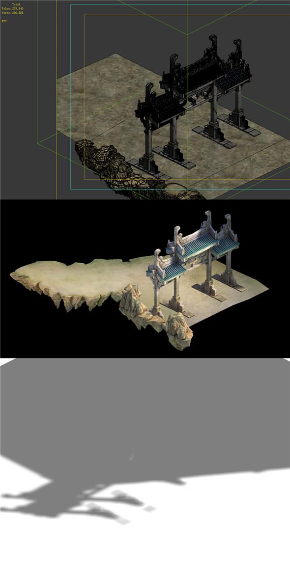 Game Model - Taoist comprehension scene - Taoist gate arch 01 - 3DOcean Item for Sale