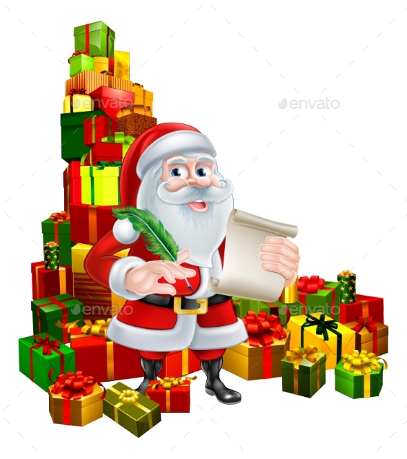 Santa With Scroll and Gifts - Seasons/Holidays Conceptual