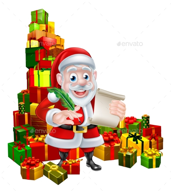 Santa Christmas List Scene - Seasons/Holidays Conceptual