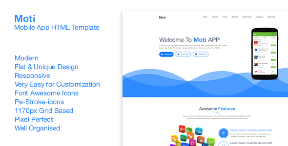 Moti App - Responsive Landing Page - Marketing Corporate