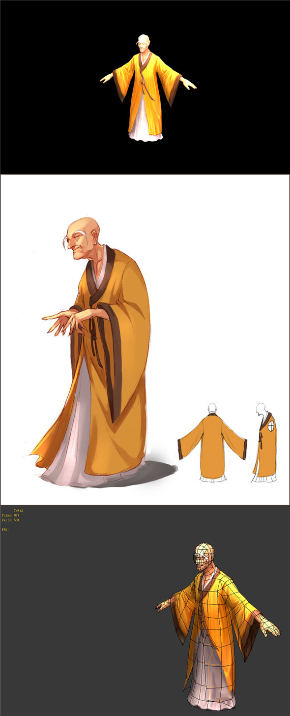 Game Model - Taoist comprehension scene - the monk 01 - 3DOcean Item for Sale