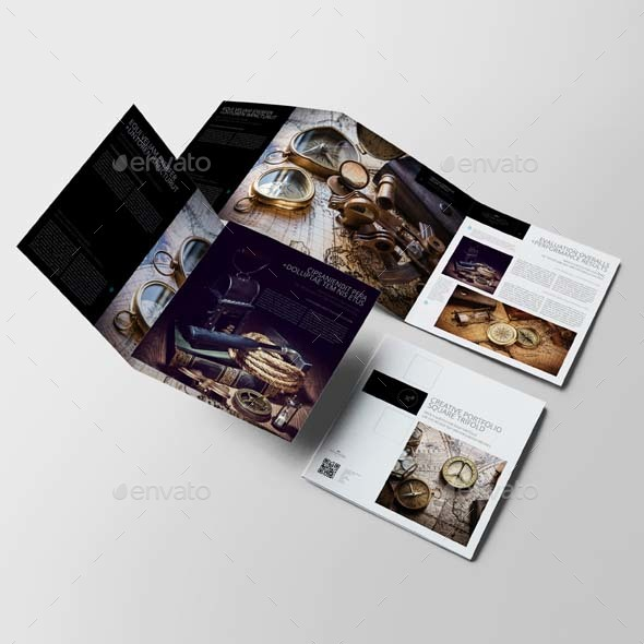 creative portfolio square trifold template by keboto