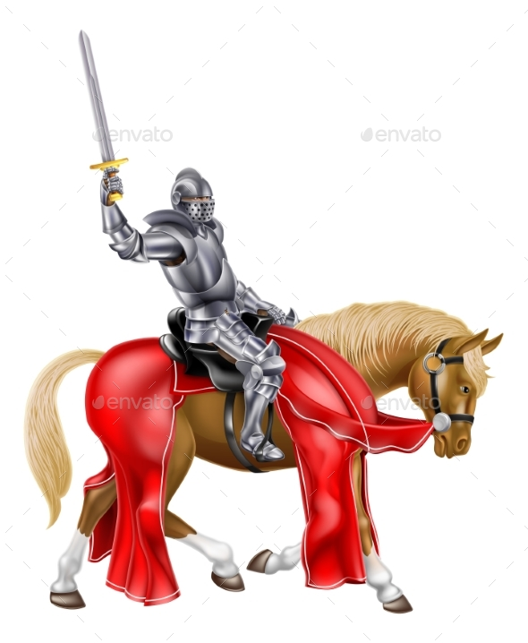Medieval Sword Knight on Horse - Sports/Activity Conceptual