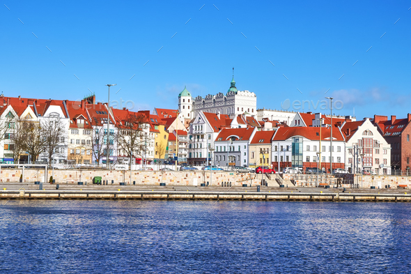 Picture of Szczecin city waterfront view, Poland. - Stock Photo - Images
