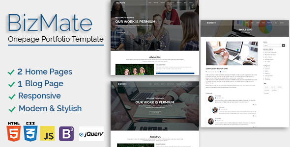 Bizmate – One page Portfolio Template