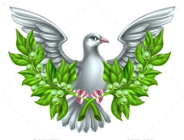 Peace Olive Branch Dove - Religion Conceptual
