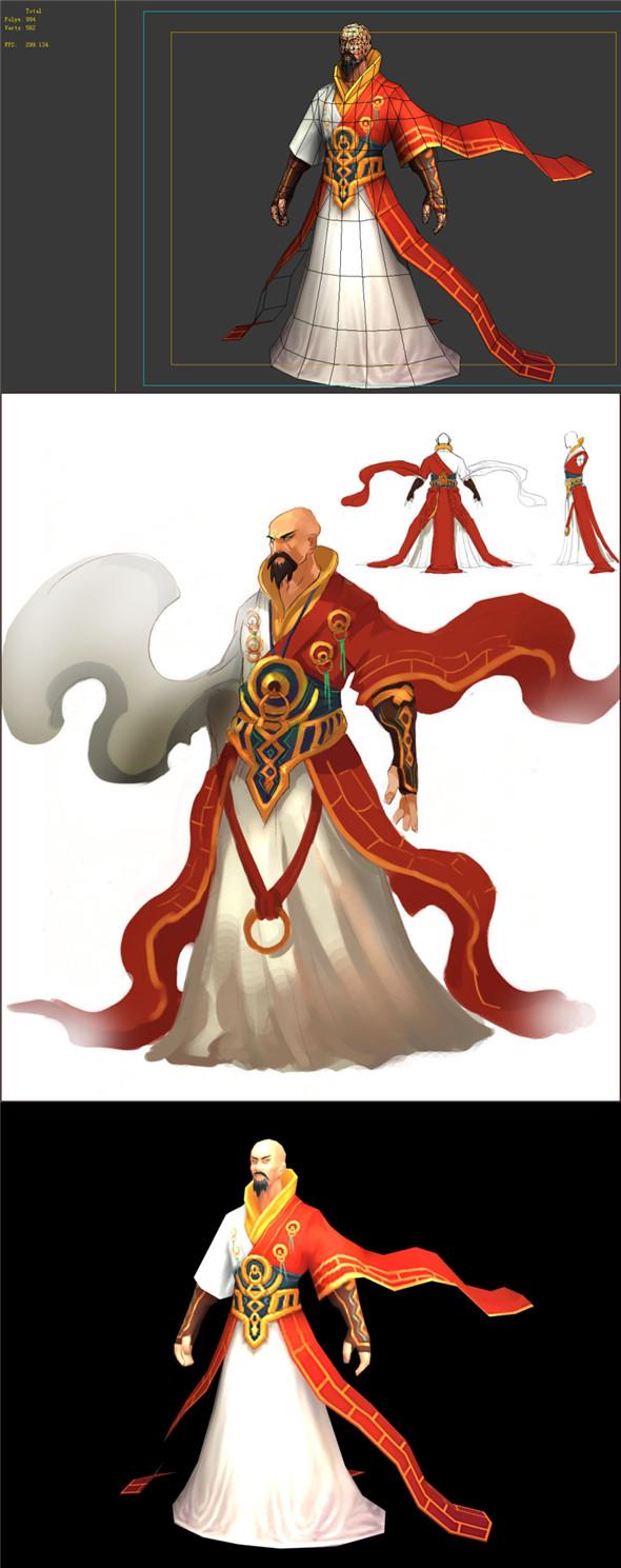 Game Model - Taoist comprehension scene - the strongest martial arts monks 01 - 3DOcean Item for Sale