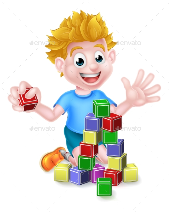 Cartoon Boy Playing With Building Blocks - People Characters