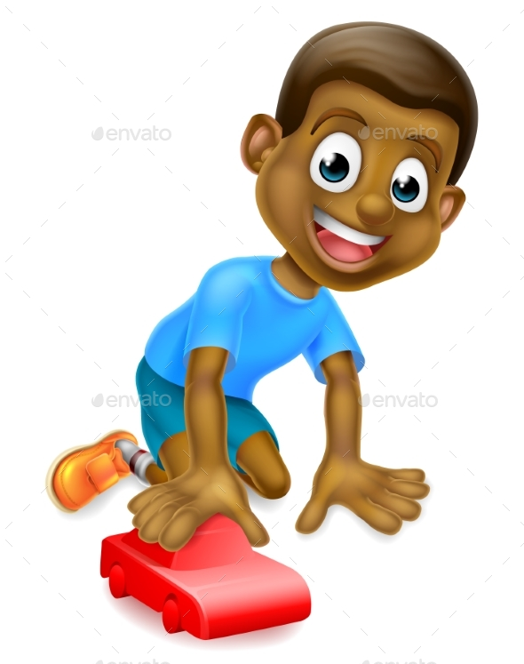 Boy Playing With Toy Car - People Characters