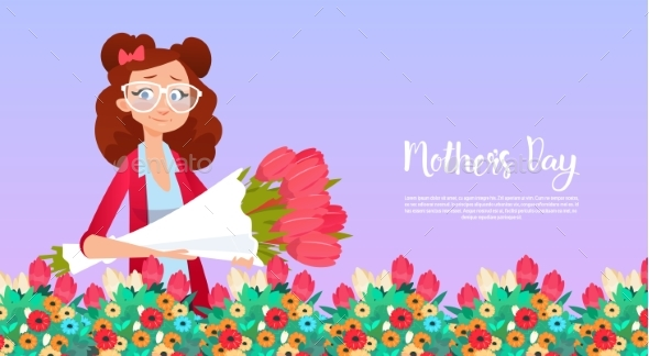Happy Mother Day, Woman Hold Flowers Bouquet - Miscellaneous Vectors