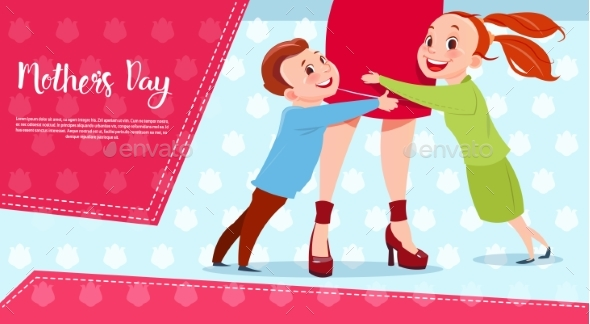 Happy Mother Day, Son And Daughter Embracing Mom - Miscellaneous Vectors