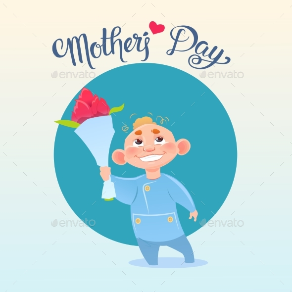Happy Mother Day, Son Hold Flowers, Spring Holiday - Miscellaneous Vectors