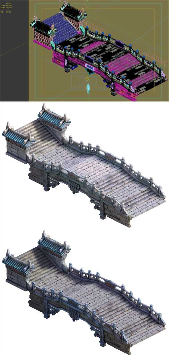 Game Model - Taoist comprehension scene - Tianshui bridge and stairs 01 - 3DOcean Item for Sale