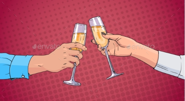 Couple Hands Clinking Glass of Champagne Wine - Food Objects