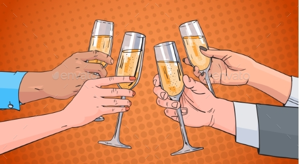 Hands Group Clinking Glass of Champagne Wine - Food Objects