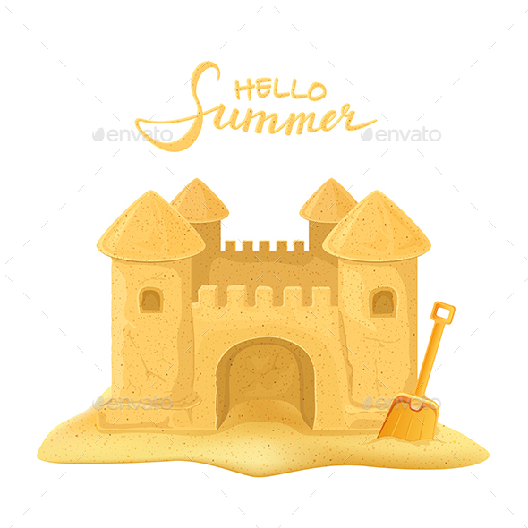 Sand Castle and Shovel - Man-made Objects Objects