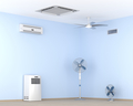 Different types of air conditioners and electric fans in the room - PhotoDune Item for Sale