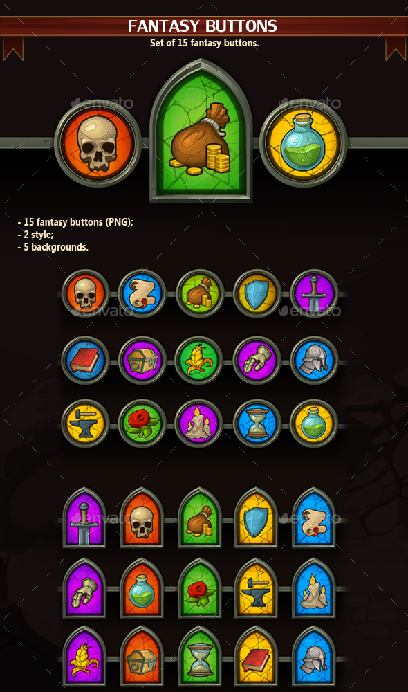 Fantasy Buttons - Miscellaneous Game Assets