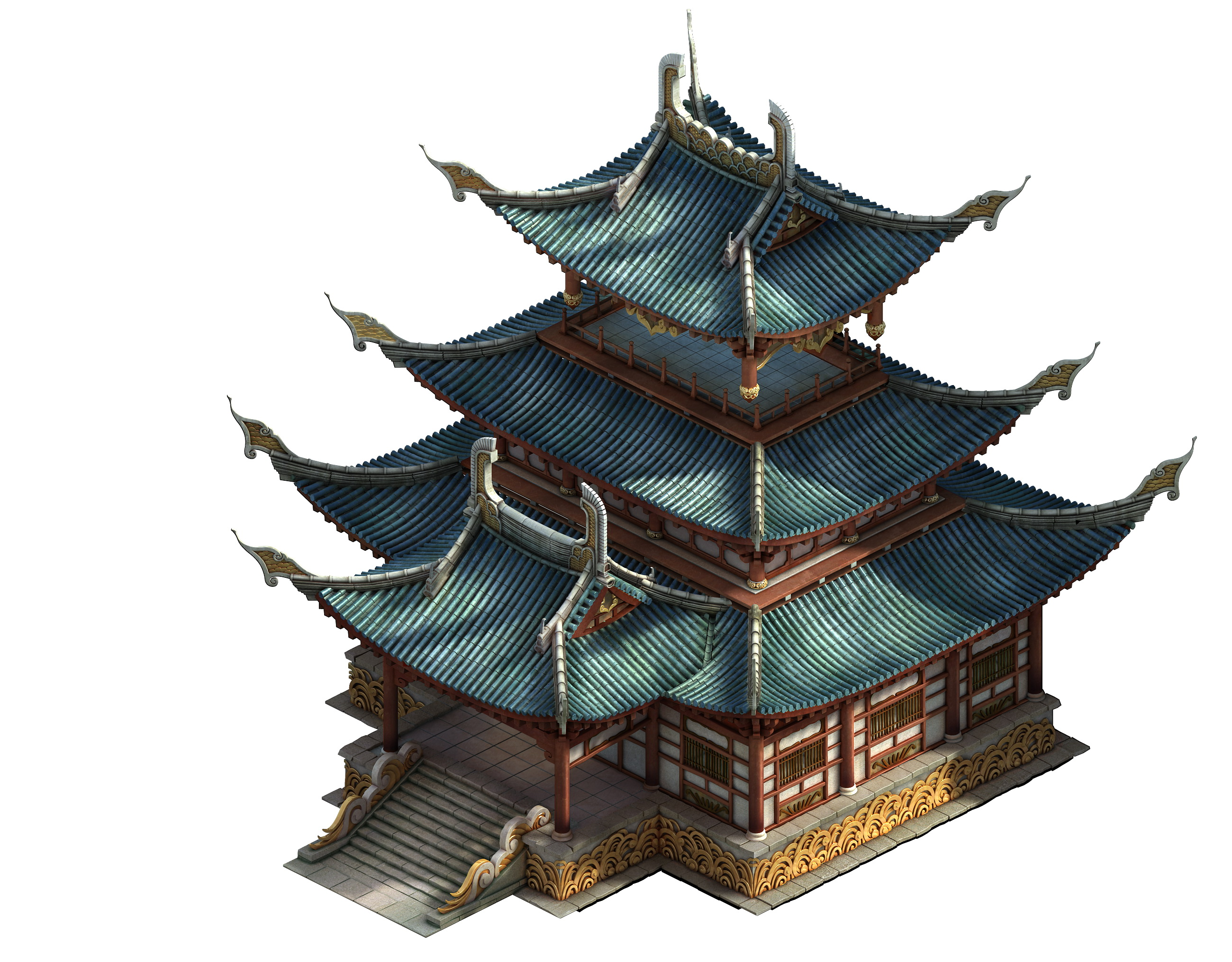 Game Model - Taoist comprehension scene - tower temple 01