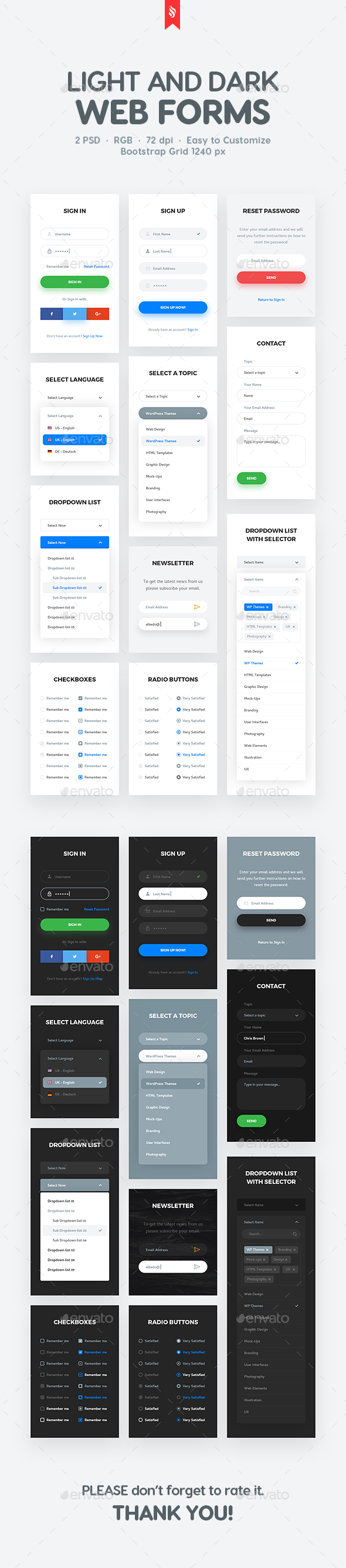 Light and Dark Soft Material Web Forms - Forms Web Elements