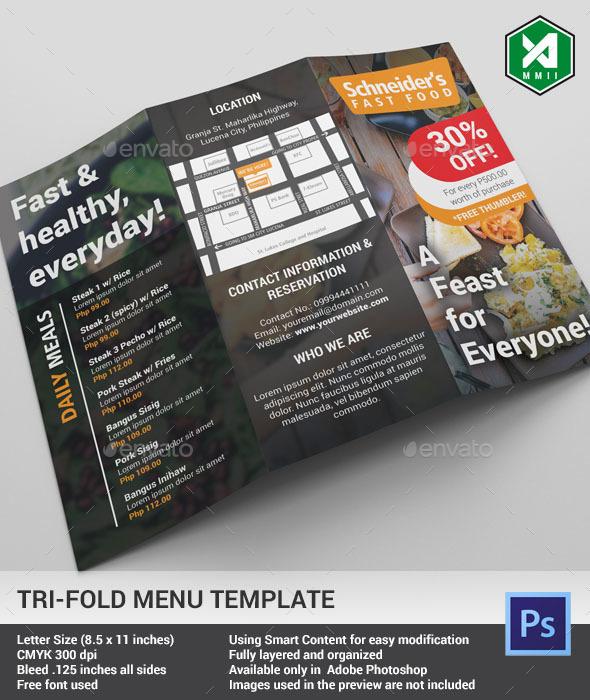 Tri-fold Food Menu Template (Dark) - Food Menus Print Templates