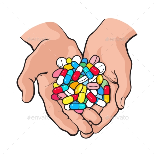 Two Cupped Hands Holding Handful of Pills - Health/Medicine Conceptual