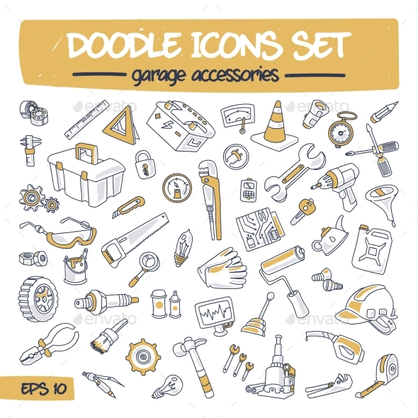 Doodle Icons Set - Garage Accessories - Miscellaneous Vectors