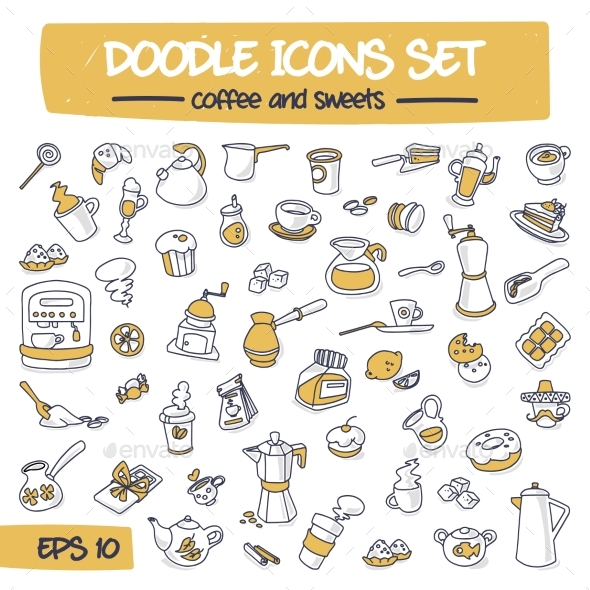 Thin Doodle Icons Set - Coffee and Sweets - Miscellaneous Vectors