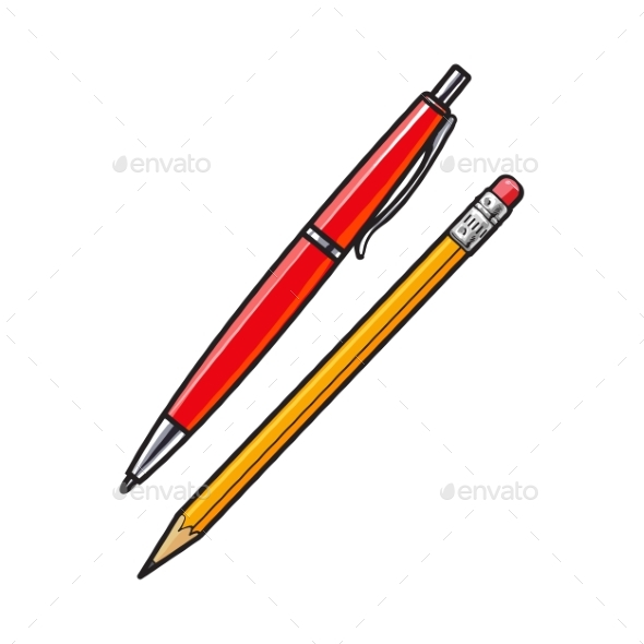 Ball Point Pen and Pencil - Miscellaneous Vectors