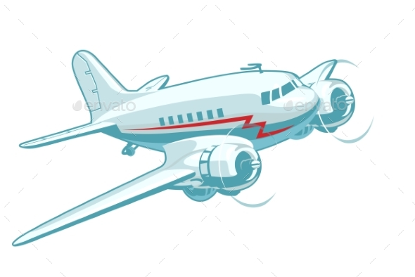 Cartoon Retro Airplane - Man-made Objects Objects