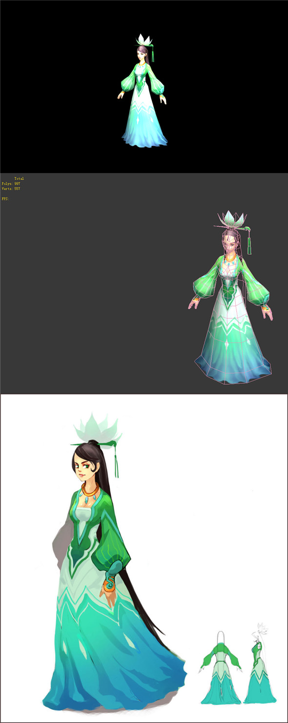Game Model - Taoist comprehension scenes - costume beauty lotus lamp 01 - 3DOcean Item for Sale