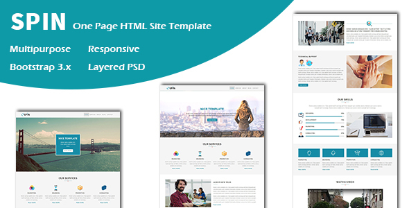 Spin – Multipurpose Responsive One page HTML Template