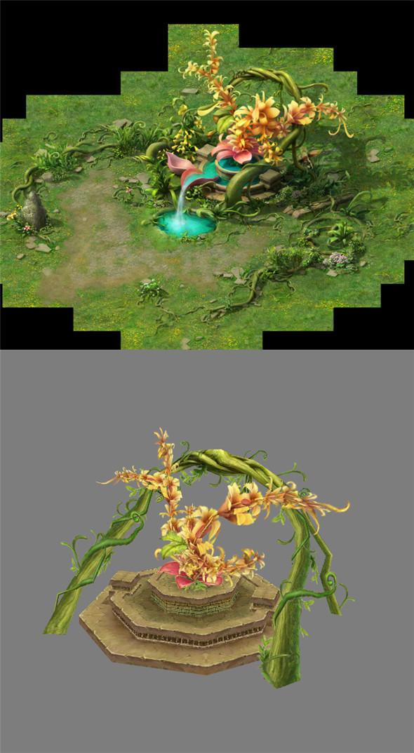Game Model Arena - a huge plant 01 - 3DOcean Item for Sale