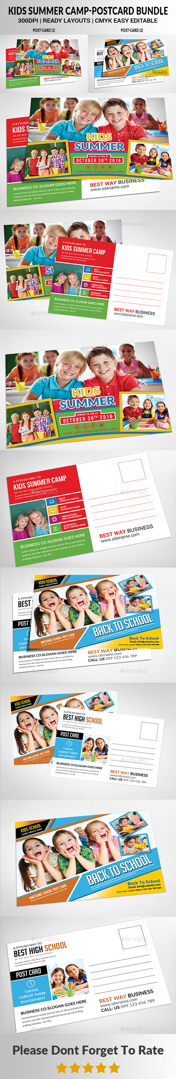 Kids Summer Camp Postcard Bundle - Cards & Invites Print Templates