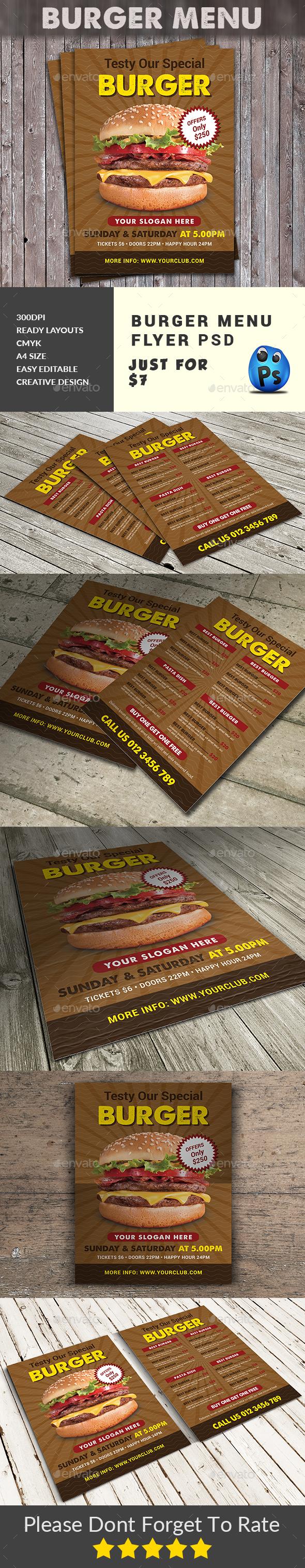 Burger Menu Flyer Templates - Food Menus Print Templates