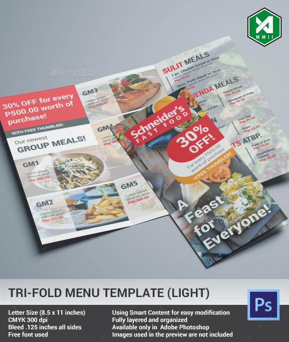 Tri-Fold Food Menu Template (Light) - Food Menus Print Templates