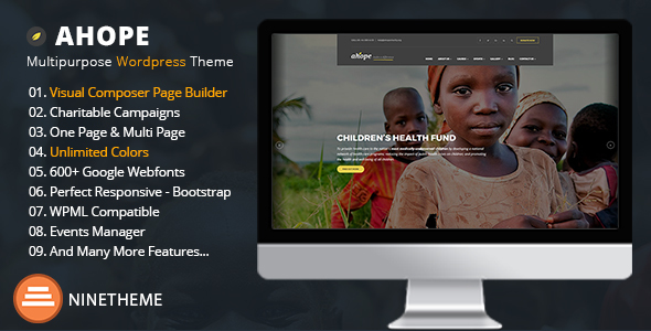 Ahope – A Best WordPress Theme for Non-Profit Organizations
