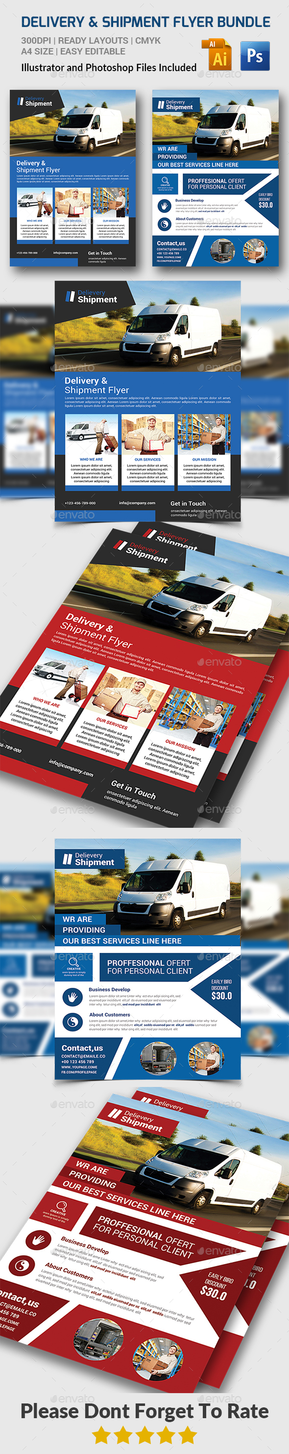 Delivery & Shipment Flyers Bundle - Corporate Flyers