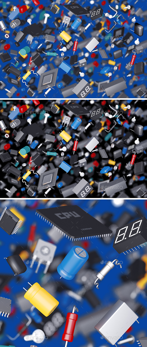Many Electronic Components - 3D Backgrounds