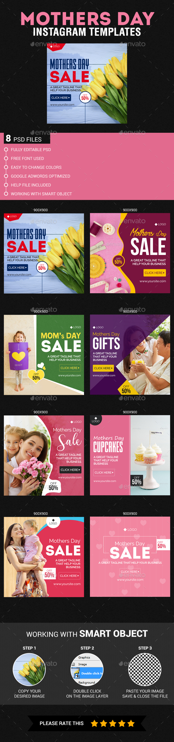 Mothers Day Instagram Templates - Banners & Ads Web Elements