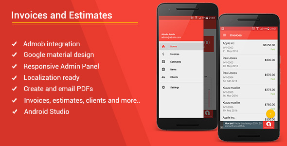 Android Invoices Estimates Template Admob Admin Panel By Bytecodr - Invoice html template bootstrap free download online layaway stores