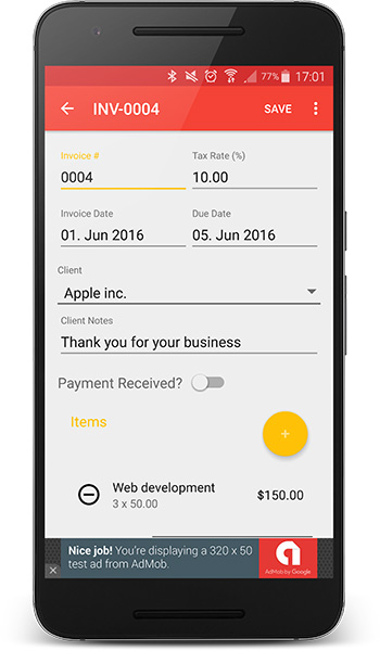 Android Invoices Estimates Template Admob Admin Panel By Bytecodr - Invoice template for android phone