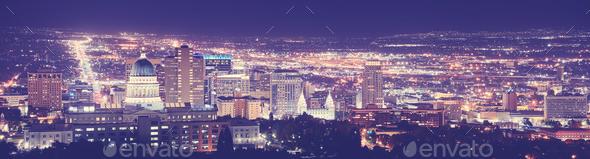 Vintage toned Salt Lake City downtown night panorama. - Stock Photo - Images